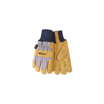 Lined Pigskin Leather Gloves with Knit Wrist